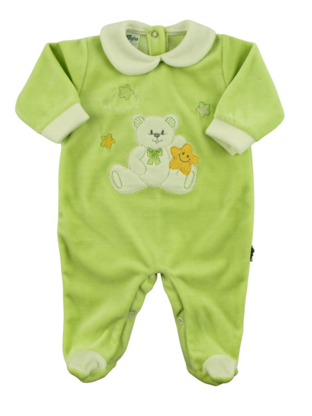 unisex chenille baby footie, baby star. Colour pistacchio green, size 0-3 months Pistacchio green Size 0-3 months