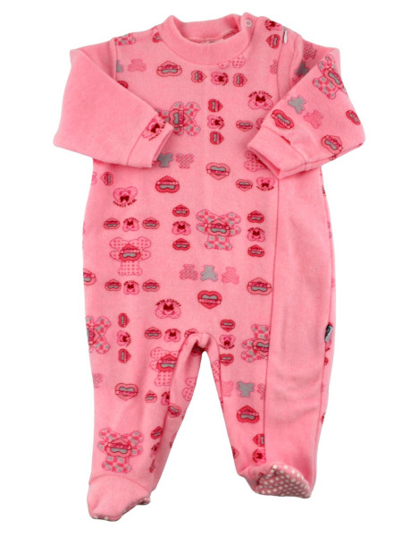 newborn baby pajamas in velour cotton blend. Warm Pyjamas. Colour fuchsia, size 6-9 months Fuchsia Size 6-9 months
