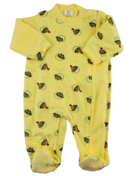 newborn baby pajamas in velour cotton blend. Warm Pyjamas. Colour yellow, size 12-18 months Yellow Size 12-18 months