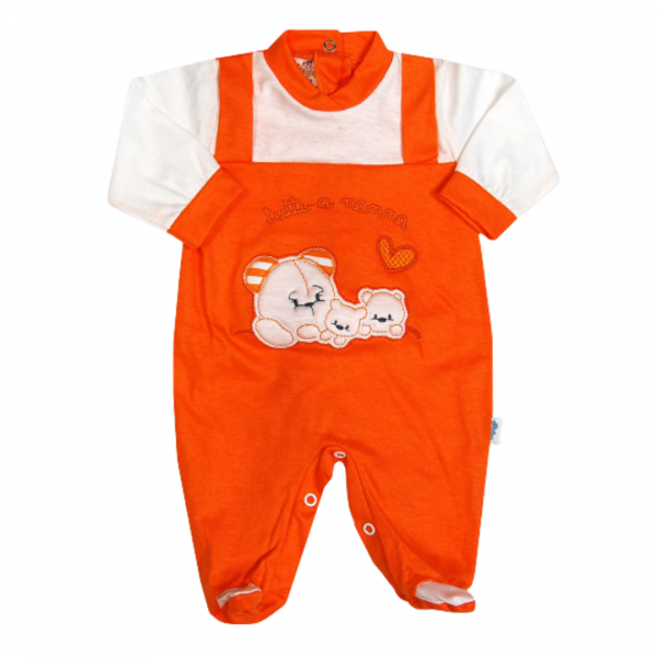 cotton baby footie all at bedtime. Colour orange, size 3-6 months