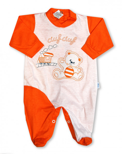 cotton baby footie. baby footie choo-choo. Colour orange, size 1-3 months