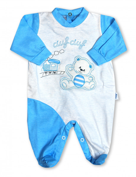 cotton baby footie. baby footie choo-choo. Colour turquoise, size 0-1 month