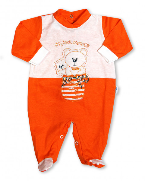 super friendly cotton baby footie in the shoe. Colour orange, size first days Orange Size first days
