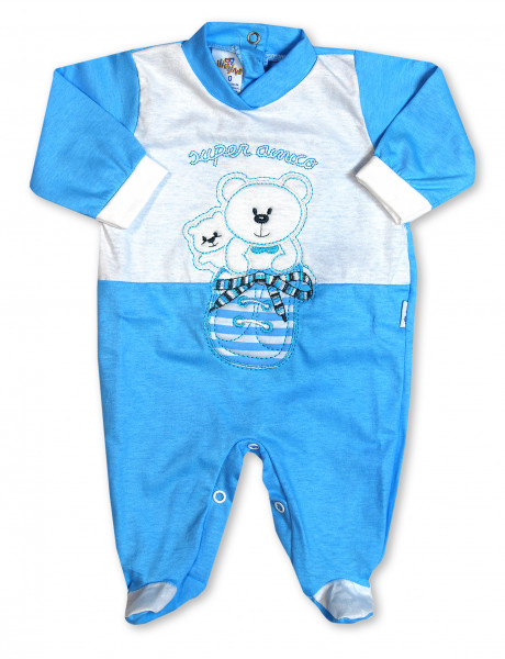 super friendly cotton baby footie in the shoe. Colour turquoise, size 3-6 months Turquoise Size 3-6 months