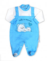 cotton baby footie all at bedtime. Colour turquoise, size 0-1 month
