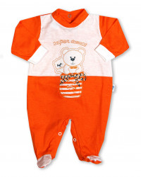 super friendly cotton baby footie in the shoe. Colour orange, size first days