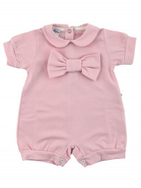 romper newborn bi-elastic cotton solid color with bow. Colour pink, size 0-3 months