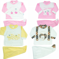 pack wow four baby girl outfits. Colour pink, size 0-1 month