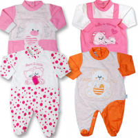 pack wow four cotton baby footies for newborn girls. Colour pink, size 1-3 months